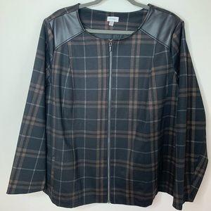 Avenue black with brown plaid zip up blazer